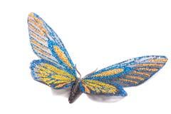 Dekoratives Blaues und Gelbes des Schmetterlinges lokalisiert auf einem weißen Hintergrund lizenzfreie stockbilder