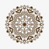 Dekoratives Element der dekorativen Spitzes des Hennastrauchtätowierungsbraun mehndi Blumenschablonengekritzels und indisches Des Stockfotografie