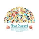 Dekoratives Element in der ethnischen Art mit Platz Stockfoto