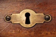 Dekoratives Element des kupfernen Schlüssellochs der Weinlese Stockfotos