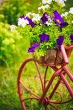 Dekoratives Fahrrad im Garten Stockbilder