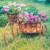 Dekoratives Fahrrad im Garten Stockbild