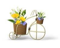 Dekoratives Fahrrad mit Frühlingsblumen Lizenzfreie Stockbilder