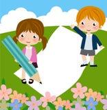 Dekoratives Feld mit Kindern vektor abbildung