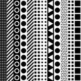 Dekoratives geometrisches Formmit ziegeln decken Einfarbiges unregelmäßiges Muster Abstrakter Schwarzweiss-Hintergrund Artisti Lizenzfreies Stockbild