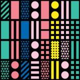 Dekoratives geometrisches Formmit ziegeln decken Unregelmäßiges Mehrfarbenmuster Abstrakter bunter Hintergrund Künstlerisches dec Stockfotos