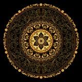 Dekoratives Goldfeld mit runden Mustern der Weinlese auf Schwarzem Stockfoto