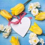 Dekoratives Herz und gelbe Tulpen und Narzissenblumen auf Blau Lizenzfreie Stockbilder
