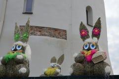 Dekoratives Kaninchen vom Heu stockfotografie