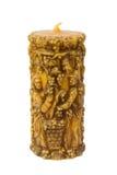 Dekoratives Kerzengeschenk lokalisiert auf Weiß stockbild