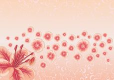 Dekoratives Motiv mit Blumen und Vögeln stock abbildung