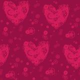 Dekoratives Muster von purpurroten Herzen Stockbilder