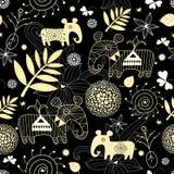 Dekoratives nahtloses Muster mit Goldblatt Lizenzfreie Stockbilder