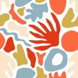 Dekoratives nahtloses Muster mit ungewöhnlichen roten und blauen Formen oder den Kennzeichen auf weißem Hintergrund Kreatives hel lizenzfreie abbildung