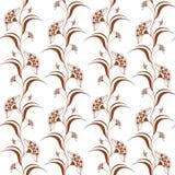 Dekoratives nahtloses Muster mit vertikalen Blumen des braunen Hennastrauches in indischer mehndi Art Lizenzfreies Stockfoto