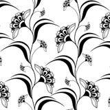 Dekoratives nahtloses schwarzes vertikales Muster in Hennastrauch mehndi Art Lizenzfreie Stockfotografie