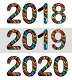 Dekoratives neues Jahr 2018, 2019, Design mit 2020 Vektoren Stockbild