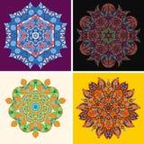 Dekoratives rundes Blumenmuster Set von vier Lizenzfreie Stockfotografie
