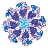 Dekoratives rundes Spitzemuster, Kreishintergrund mit Blumenorn Lizenzfreie Stockfotos