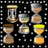 Dekoratives Sandglas und Sterne Stockbild