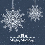 Dekoratives Schneeflockenfeiertags-Kartendesign Stockbild