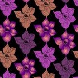 Dekoratives semless Muster mit bunten Schattenbildern von Blumen stockfotografie