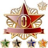Dekoratives Sternset Gold und verschiedene Farben Lizenzfreies Stockbild