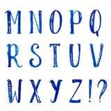 Dekorativt alfabet för engelsk vattenfärg med handen stock illustrationer