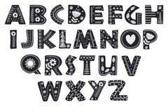 Dekorativt alfabet i skandinavisk svartvit stilfärg vektor illustrationer