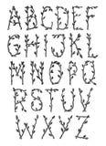 Dekorativt alfabet som göras av trädfilialer vektor illustrationer