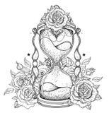 Dekorativt antikt timglas med rosillustrationen som isoleras på vektor illustrationer