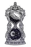 Dekorativt antikt timglas med stjärnor och måneillustrationen Isolerad vektorkonst för sand klocka stock illustrationer