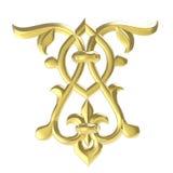 Dekorativt arbete av guld vektor för illustration för designelement blom- Royaltyfri Bild