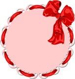 Dekorativt baner med en stort rött bow och band Royaltyfri Fotografi