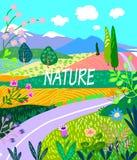 Dekorativt baner, sommarlandskap med landskap, raring och blommor vektor illustrationer