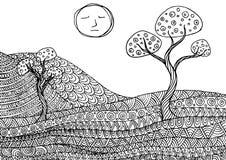 Dekorativt berglandskap stock illustrationer