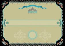 Dekorativt certifikat med den svarta gränsen vektor illustrationer