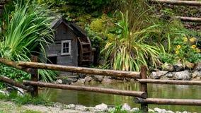 Dekorativt damm med watermill i regn arkivfilmer