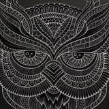 Dekorativt dekorativt ugglahuvud vektor illustrationer