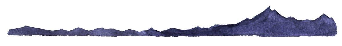 dekorativt element Mörk kontur av ett högt berg och en bergskedja av svarta och purpurfärgade färger royaltyfri illustrationer