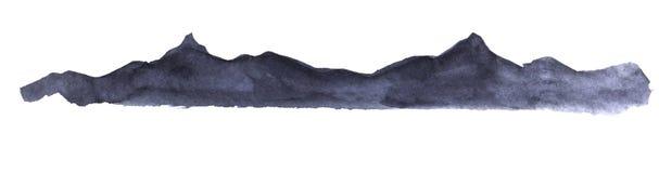 dekorativt element Mörk kontur av ett högt berg och en bergskedja av svarta och purpurfärgade färger stock illustrationer