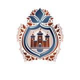 Dekorativt emblem för heraldisk vapensköld med den medeltida fäste- och liljablomman, vektorillustration bakgrund isolerad skydds royaltyfri illustrationer