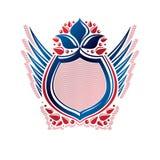 Dekorativt emblem för tom heraldisk vapensköld med kopieringsutrymme E royaltyfri illustrationer