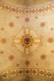 Dekorativt freskomålningtak i kapellet av Moses, Israel arkivbild