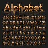 Dekorativt guld- alfabet stock illustrationer