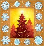 Dekorativt hälsningkort 1 för jul stock illustrationer