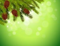 Dekorativt hörn för jul på vit bakgrund Arkivfoton