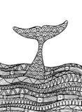 Dekorativt havslandskap med delfin stock illustrationer