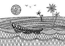 Dekorativt havslandskap med ett fartyg stock illustrationer