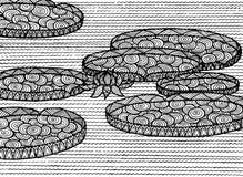 Dekorativt havslandskap med lotusblomma vektor illustrationer